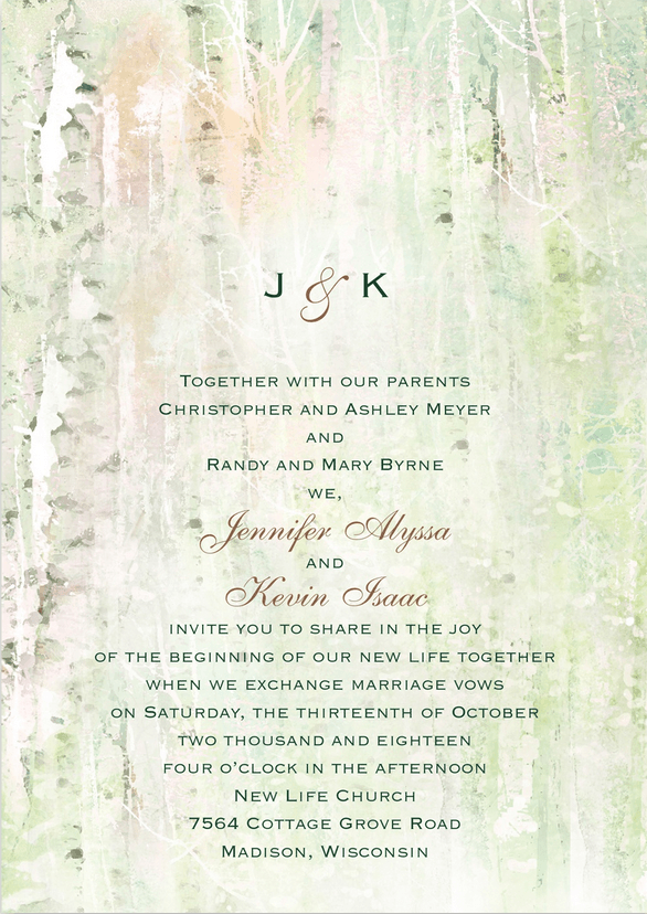 Birch Tree Wedding Invitation Featuring Shelley Script Font