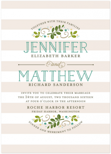 Botanical Wedding Invitation Featuring Naive Inline Font