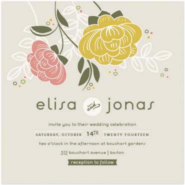 Bouquet Wedding Invitation Featuring Estilo Script Font