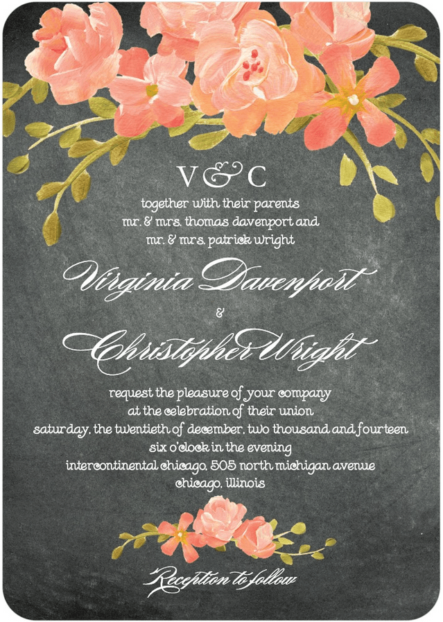 Chalkboard Floral Wedding Invitation Featuring Burgues Script Font