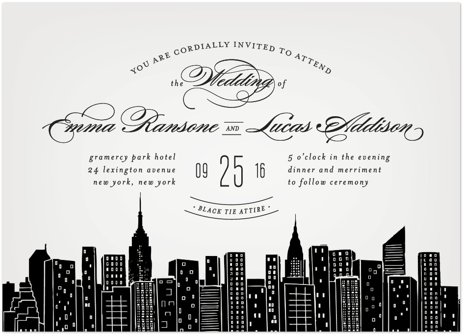 city wedding invitation