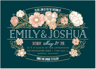 Country Wedding Invitation Featuring Melany Lane Font