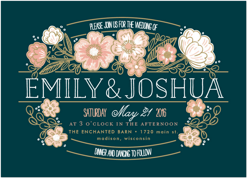country florals wedding invitation