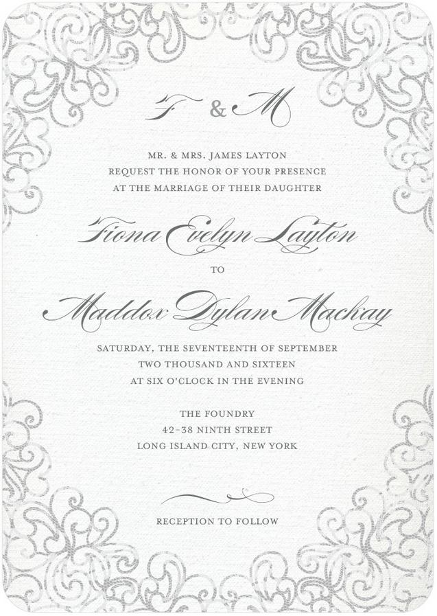 Lace Wedding Invitation Featuring Burgues Script Font
