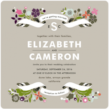 Floral Branches Wedding Invitation Featuring Trade Gothic Font
