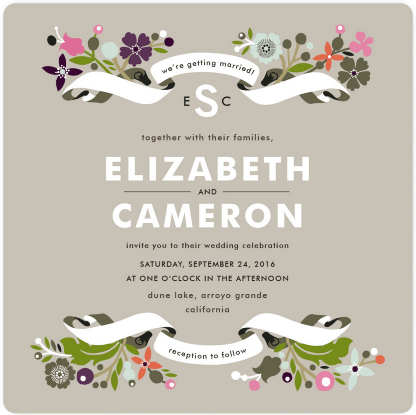 floral branches wedding invitation