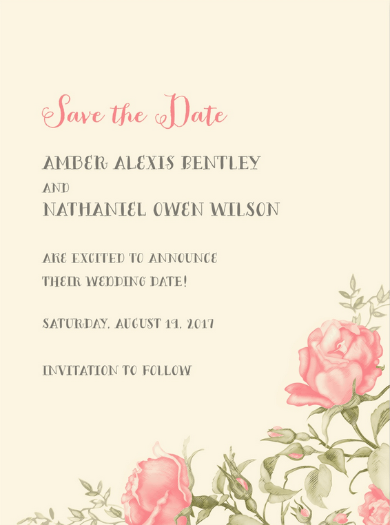 flourishing roses save the date