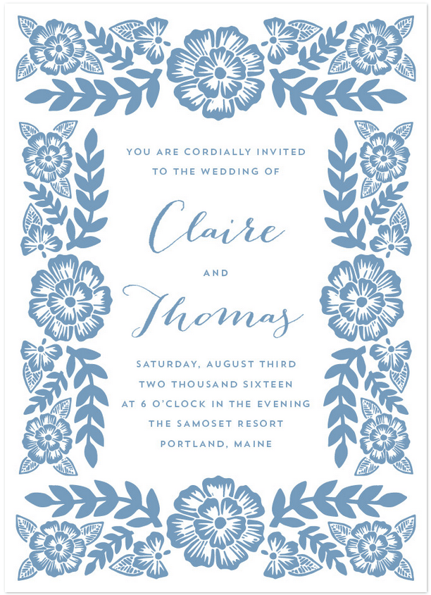 folk floral wedding invitation