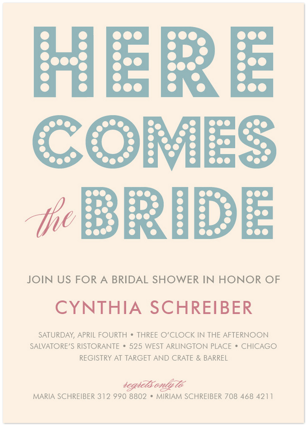 here comes the bride shower invite featuring budmo font