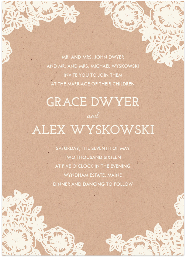 Lace and Kraft Wedding Invitation Featuring Josefin Slab Font