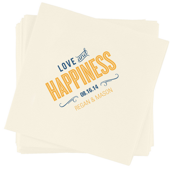 love and happiness wedding napkins