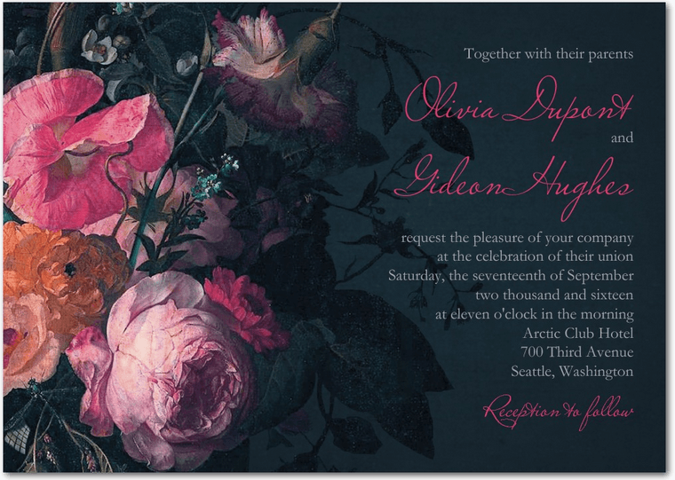 midnight bouquet wedding invitation