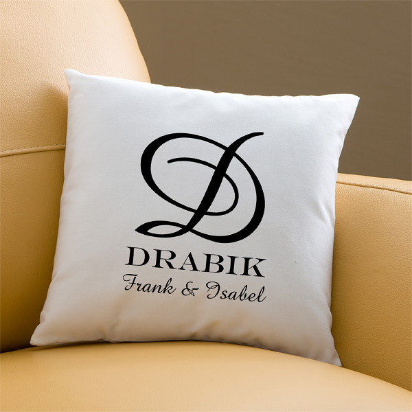 Elegant Wedding Monogram Collection:  Monogram Keepsake Pillow Featuring Amazone Font