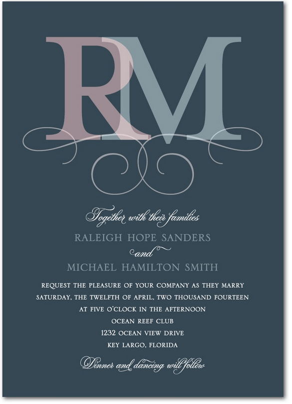 monogram merge wedding invitation