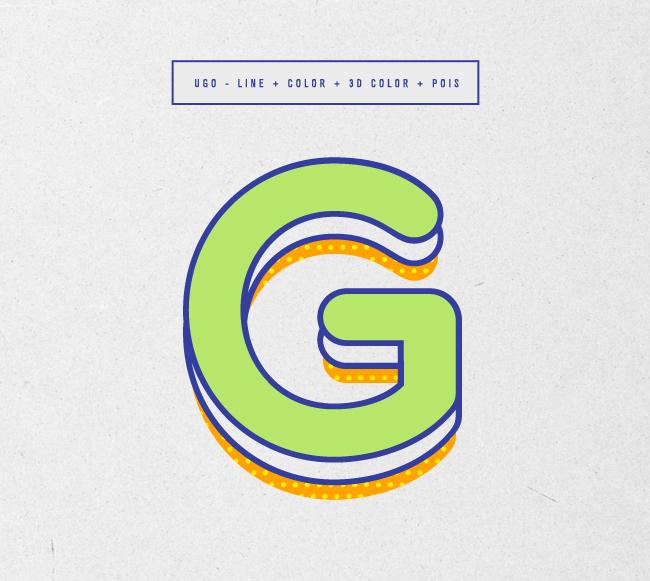UGO – Free 3D Layered Font Poster E