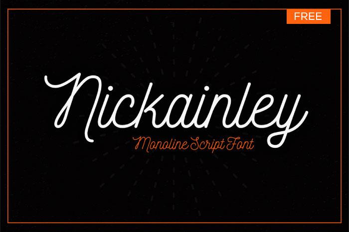 Nickainley – Free Monoline Script Font Poster A