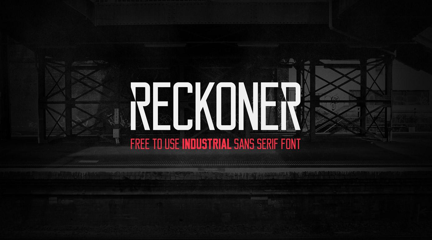 Reckoner – Free Industrial Sans Serif Font Poster A
