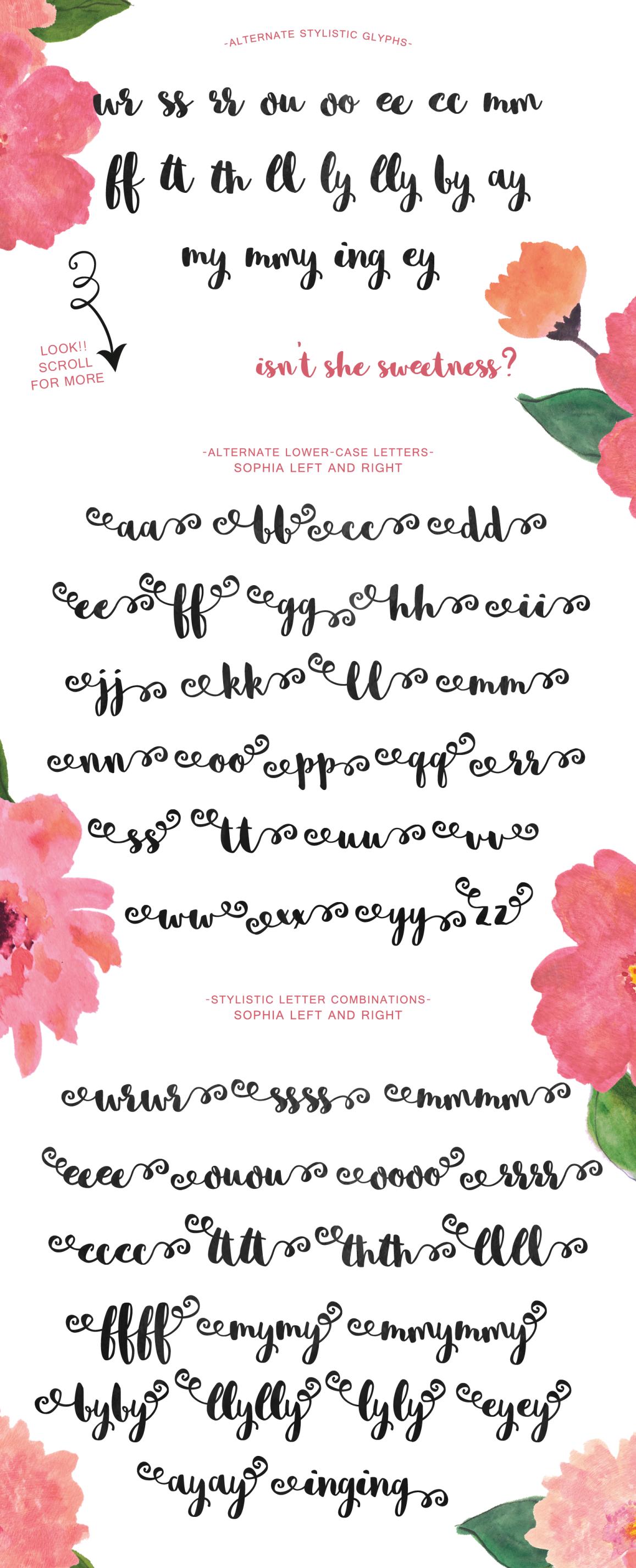 Sophia – Free Hand Lettered Script Font Poster C