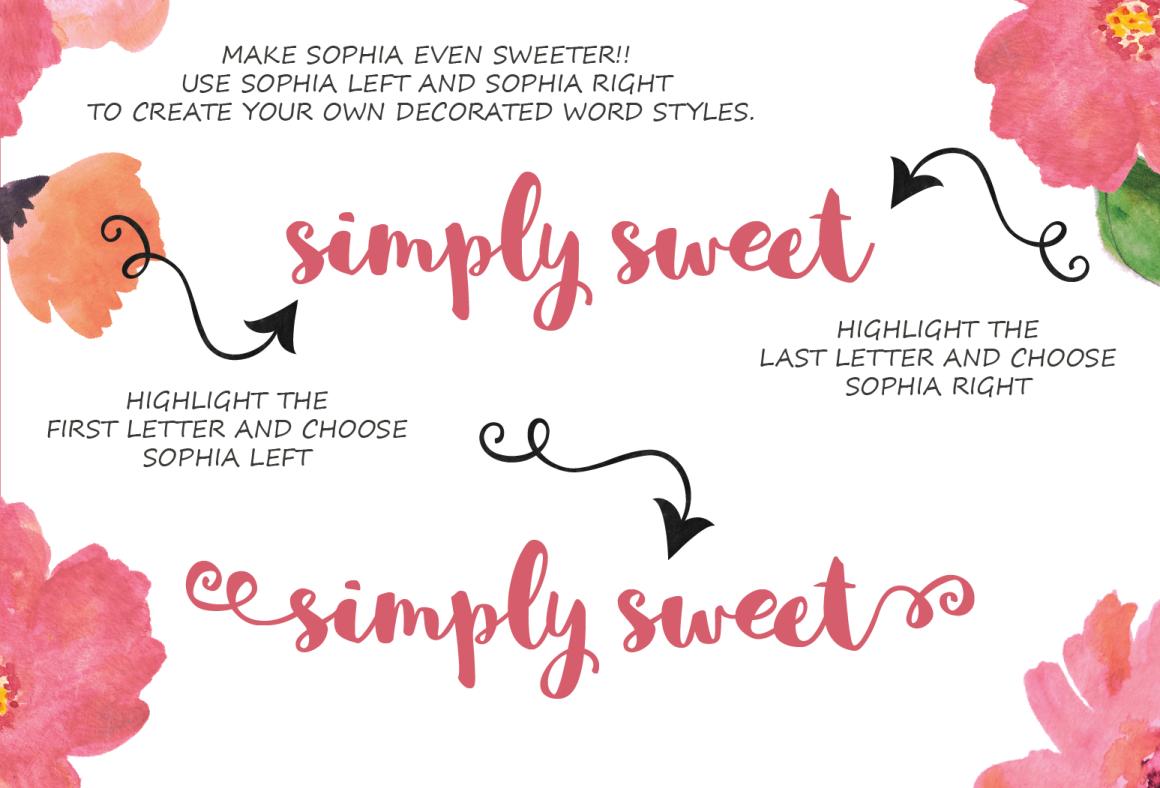 Sophia – Free Hand Lettered Script Font Poster D