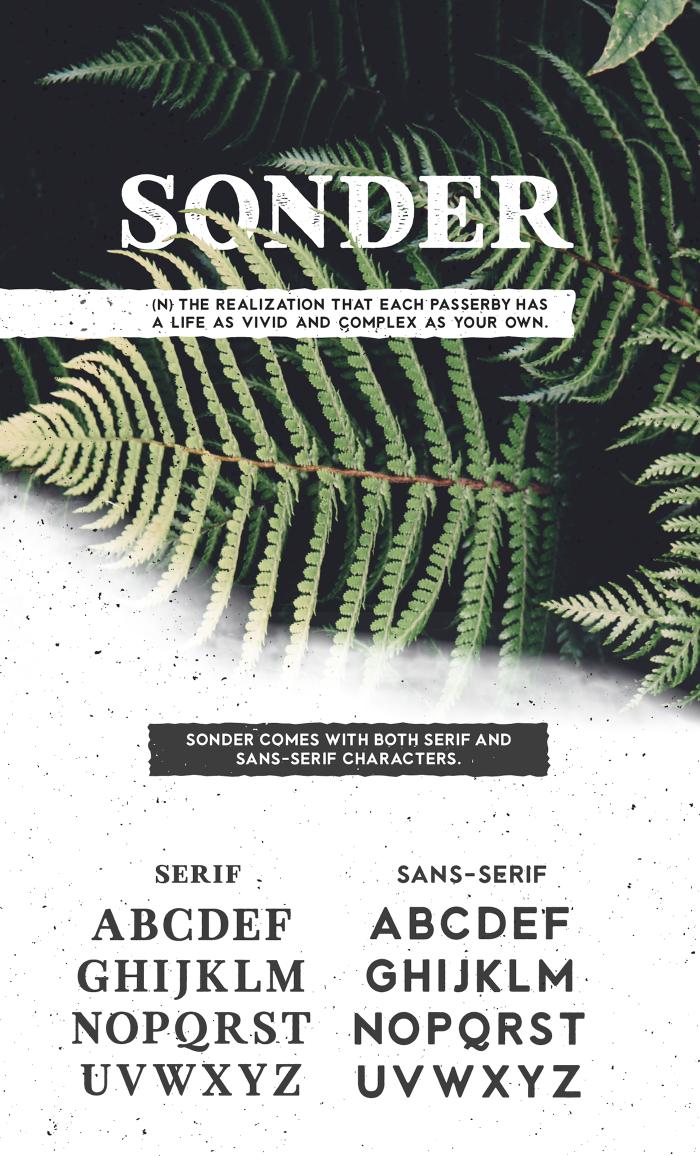 Sonder – Free Vintage Sans & Serif Font Poster A