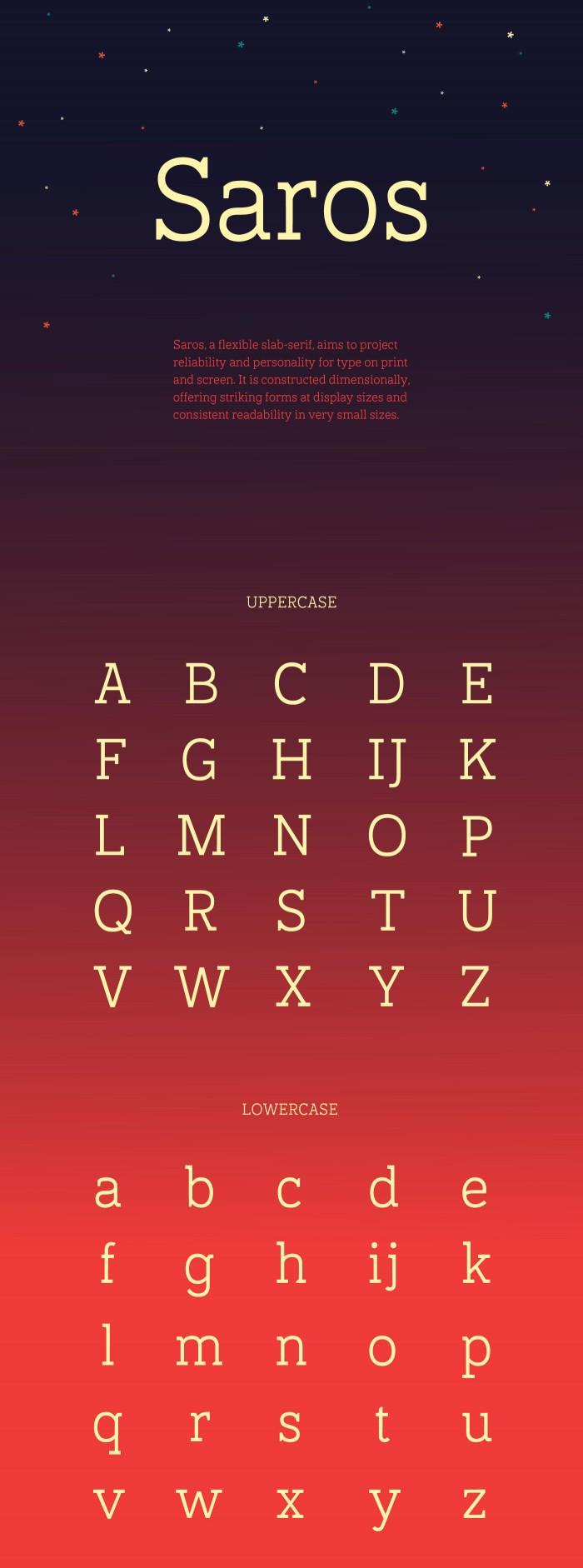 Saros – Free Slab Serif Font Poster A
