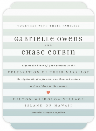 Ombre Stripes Wedding Invitation Featuring Filosofia Font