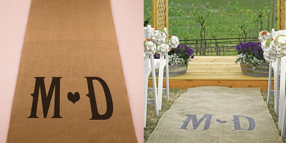 personalized burlap monogram aisle runner