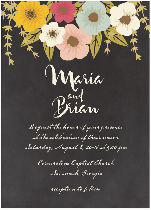 plentiful blossoms wedding invitation