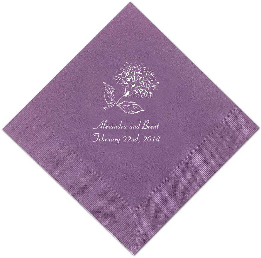 purple cocktail napkins featuring coronet
