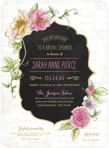 Refined Blossoms Shower Invitation Featuring Gioviale Font