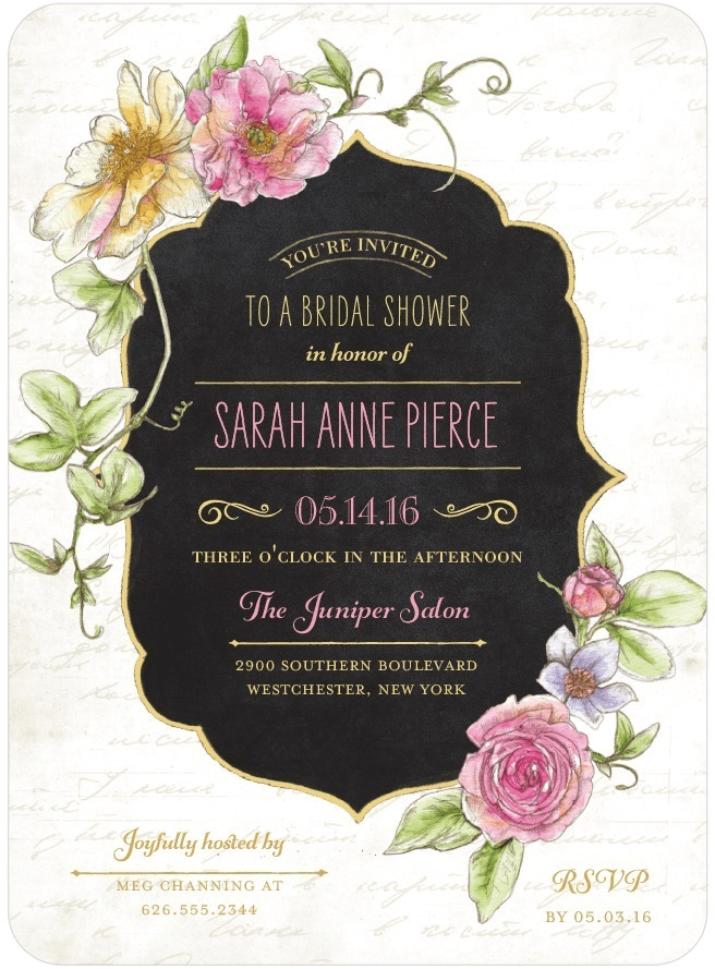 refined blossoms shower invitation