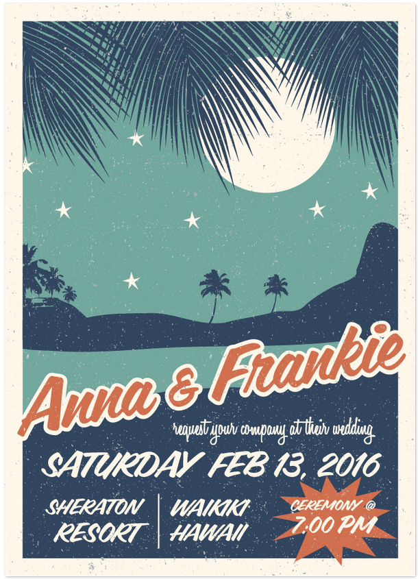 retro hawaii wedding invitation