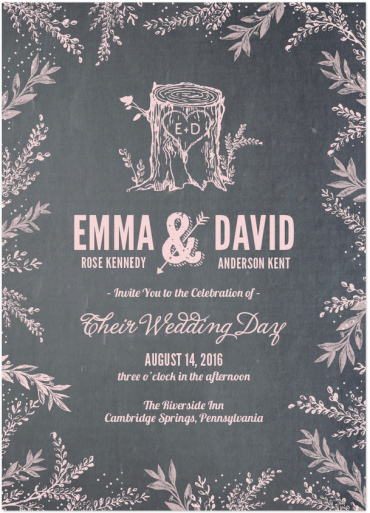 Woodland Wedding Invitation Featuring League Gothic Font