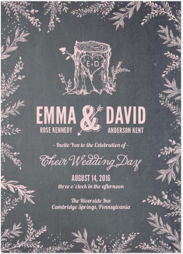 Woodland Wedding Invitation Featuring League Gothic Font