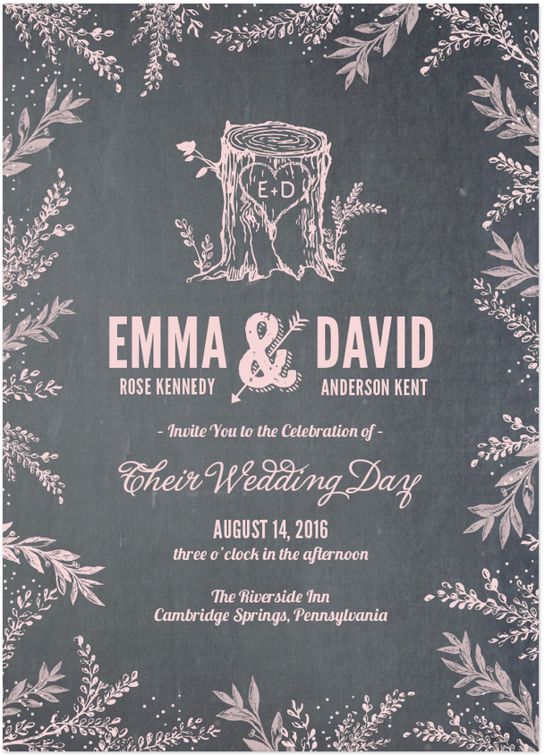 romantic woodland wedding invitation
