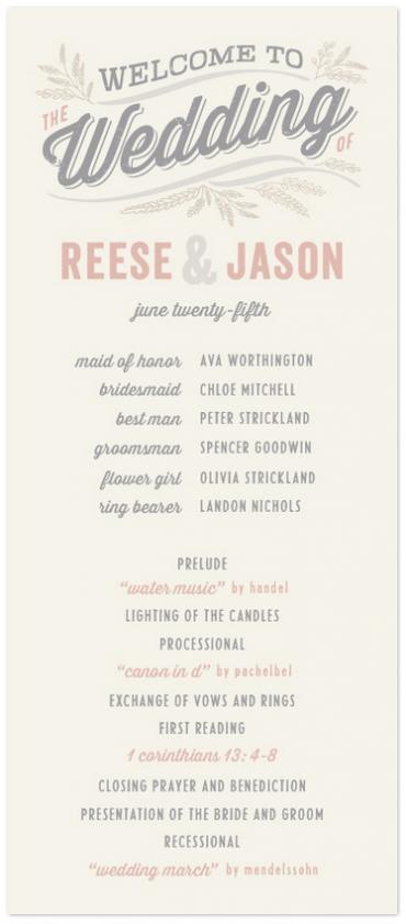 Rustic Charm Wedding Program Featuring Veneer Font