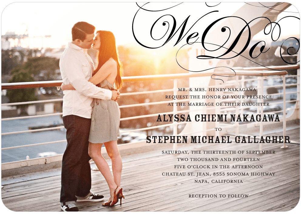 stunning flourish wedding invitation