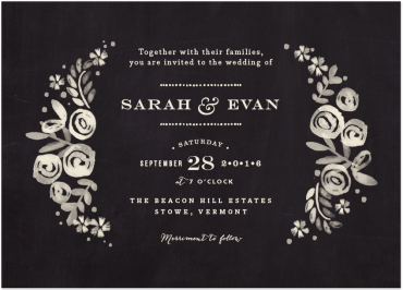 Sun Beached Folral Invitation Featuring Bodoni Egyptian Font