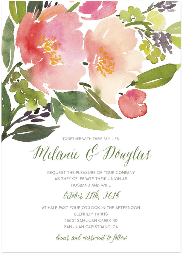 waltercolor floral wedding invitation