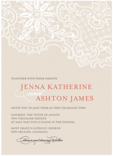 White Lace Wedding Invitation Featuring Mrs Eaves Font