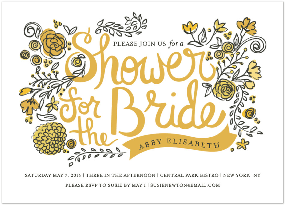 wild garden bridal shower invitation featuring mrs eaves font