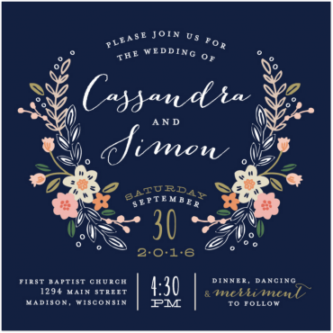 Flowers Crest Invitation Featuring Archive Antique Extended Font