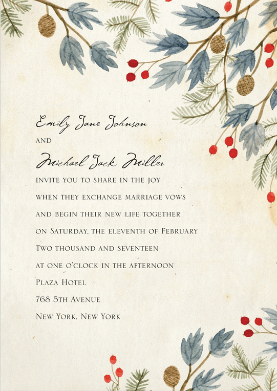 winter leaves wedding invitation