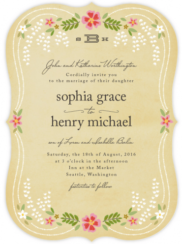 Wisteria Wedding Invitation Featuring Mr Sheffield Font
