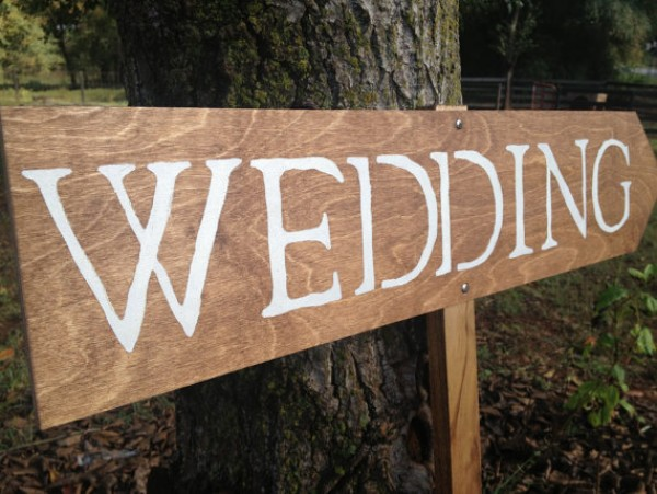 wood wedding arrow sign
