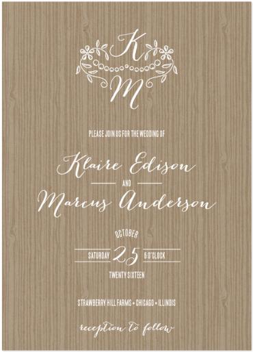 Woodland Wedding Invitation Featuring Bombshell Pro Font