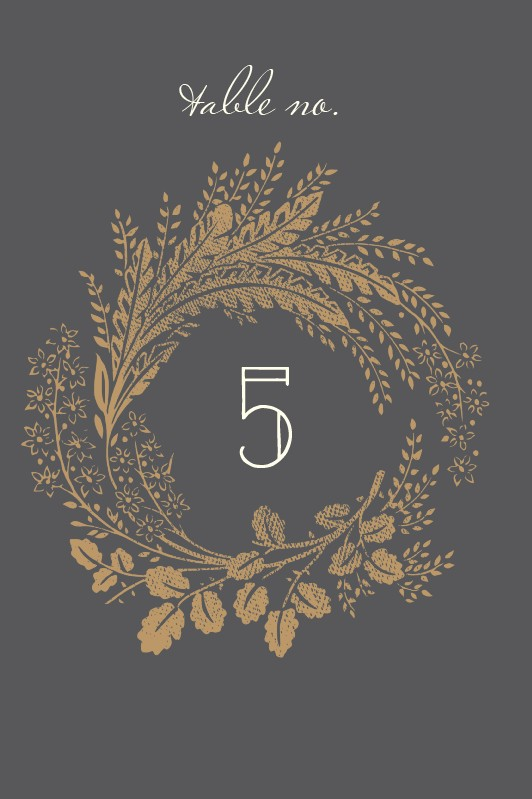 woodsy wreath wedding table number